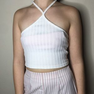 White Ribbed Halter Crop Top From Missguided